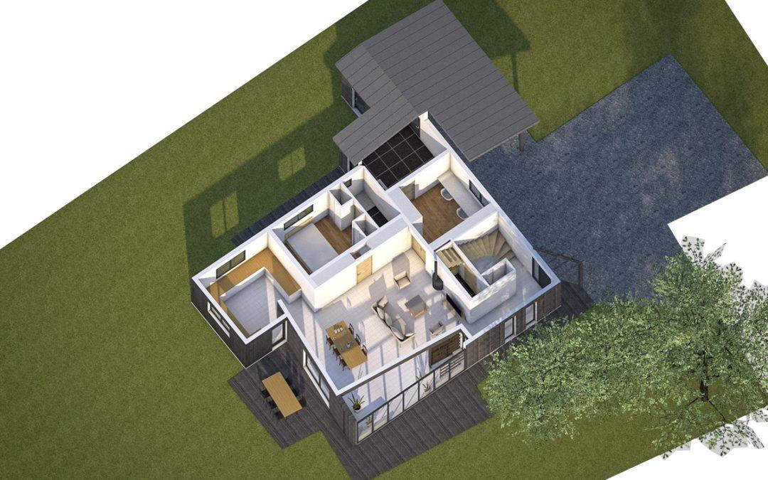 Projet en étude pour l'extension d'une maison en ossature bois à La Chapelle Saint Florent